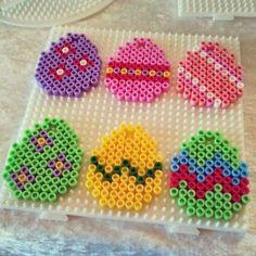 Easter eggs hama perler by lbachj Perler Beads, Perler Bead Art, Fuse Beads, Pearler Bead Patterns, Perler Patterns, Art Perle, Motifs Perler, Hama Beads Design, Iron Beads