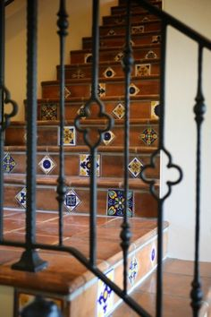 Wrought Iron Railing Design Ideas, Pictures, Remodel, and Decor - page 7 Railing Design, Staircase Design, Wrought Iron Stair Railing, Stair Risers, Iron Spindles, Iron Railings, Tile Stairs, Painting Tile Floors, Spanish Style Homes