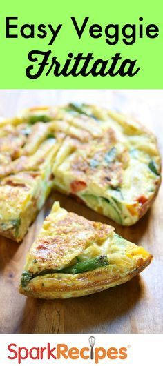 This healthy veggie frittata features all of our favorite spring goodies! Serve it with crusty bread and fresh fruit salad for a filling meal. via @SparkPeople
