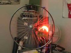 This is a demonstration called the rubber band heat engine. As the name suggests, you take rubber bands, apply heat to them and they do work for you.