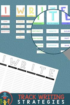 Creative anchor chart to organize writing strategies for students. Great for writer's workshop. (Includes editable strips.) Helps underwhelm the kids with great visuals, yet, simple! Not too cutesy! Display posters on classroom wall or on bulletin boards. First Grade (1st Grade), Second Grade (2nd Grade), Third Grade (3rd Grade) Writing Strategies, Teaching Strategies, Writing Ideas, Teaching Resources, Primary Teaching, Teaching Writing, Elementary Teaching, Readers Workshop, Writer Workshop