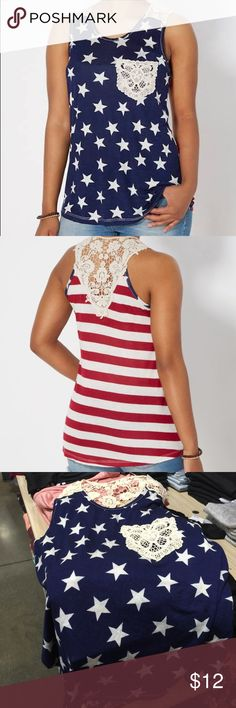 NWT Rue 21 Flag Tank Top Jumpstart the new season in this cute and fun tank top! Made of jersey knit, featuring a patriotic Americana print with a front pocket and back yoke made of see-through crochet. Rue 21 Tops Tank Tops