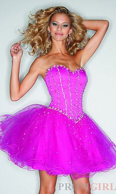 Short Strapless Babydoll Dress at PromGirl.com