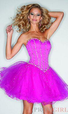 Short Strapless Babydoll Dress at PromGirl.com