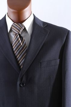 Men's Single Breasted 3 Button Navy Pinstripe Wool Blend Dress Suit