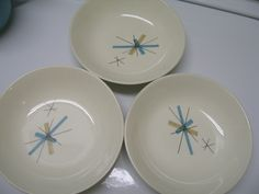 3 vintage sauce berry bowl dish Salem North Star Hopscotch Atomic |