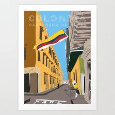 Cartagena de Indias, Colombia Travel Poster Art Print by Lyman Creative Co. Central America, South America, Artwork Prints, Fine Art Prints, Colombia Travel, Vintage Travel Posters, Affordable Art, Buy Frames, Illustrators