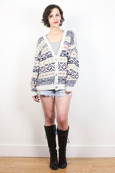 Vintage 90s Boyfriend Sweater Deep V Neck Cardigan Navy Purple Yellow Orange Southwestern Striped Knit 1990s Oversized Soft Grunge Jumper XL #vintage #etsy #1990s #90s #soft #grunge #boyfriend #sweater #jumper #cardigan