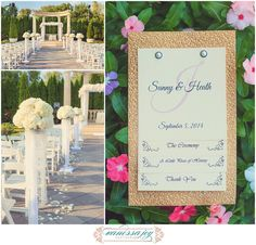Garden wedding ceremony at the Rockleigh country club in New Jersey. Photos by Vanessa Joy NJ wedding photographer