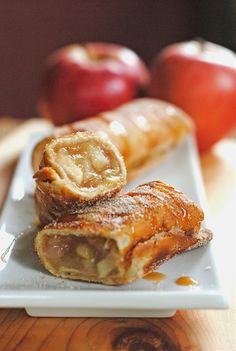 Apple Cinnamon Dessert... For the Apple Filling...4 baking apples, peeled and chopped, 1 1/2 cups water, 1/4 cup cornstarch, 3/4 cup sugar, 1/2 tsp. cinnamon, 1/4 tsp. salt, 1 Tbs. lemon juice.  For the Chimichangas  8-10 small tortillas, 1/2 cup sugar, 1 Tbs. cinnamon, Oil for frying