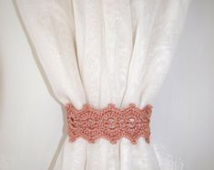 White lace tiebacks with button Crochet by CrochetedCosiness