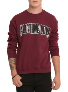 Burgundy crewneck sweatshirt with All Time Low logo design.