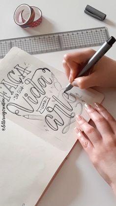Brush Lettering Quotes, Hand Lettering Alphabet, Cool Lettering, Lettering Design, How To Write Calligraphy, Calligraphy Letters, Typography Letters, Bullet Journal Cover Ideas, Bullet Journal Lettering Ideas