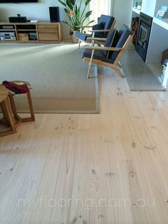 liming or wood washing the timber flooring would change the timber color lighter than the natural wooden color without blocking the natural wood grain. Timber Flooring, Hardwood Floors, Grey Floorboards, Parquetry Floor, Grand Designs, Reno, Room Accessories, Natural Wood, Dining Table