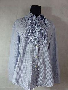 25f5698516a6ca ANN TAYLOR Women s Floral Navy   White Button-Up Shirt- Size 8 Petite