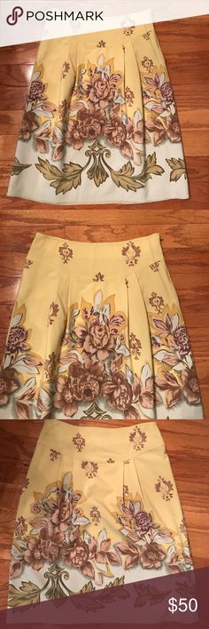 🌷ANTHROPOLOGIE🌷 INTUITIONS FLORAL SKIRT🌷 This is an anthropology brand intuitions skirt was trying to figure out the color I would say it's like a chartreuse shot through with plum olive brown tan etc. sidestepping with Eyelet hook closure, fully lined it is actually listed as a size 2 inside but it feels to me I would say more like a four or six. Check the measurements.52% polyester 33% rayon 5% spandex Anthropologie Skirts Midi