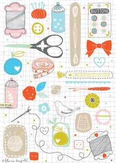 Flora Waycott Sewing Art 2014 PATRONES/MOLDES - PUNTO DE CRUZ. COSTURA: KIT DE CASA _0025