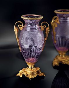 London Vase in liliac crystal and 24K gold plated bronze by Baldi Home Jewels