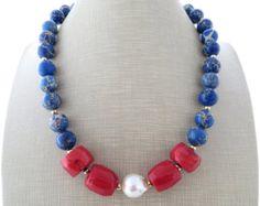 Lava rock collar collar de coral rojo collar por Sofiasbijoux