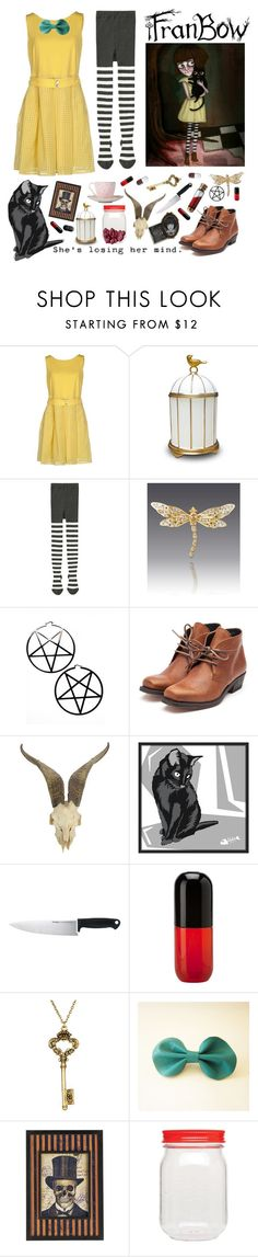 """""""Fran Bow"""" by theyoungestvolcano ❤ liked on Polyvore featuring Mariella Rosati, L'Objet, Uniqlo, Jay Strongwater, Kill Star, Rupert Sanderson, Universal Lighting and Decor, Kershaw, Venini and Yochi"""