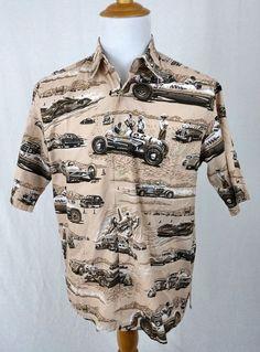 Reyn Spooner Shirt Medium Art of Eddy Y Hawaiian Race Car Bonneville Express EUC #ReynSpooner #Hawaiian