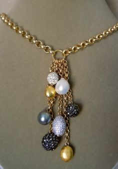 NEW City Night -- Baroque Pearl, Pave Beads, Swarovski Pearl Drop necklace Wire Jewelry, Beaded Jewelry, Jewelery, Jewelry Necklaces, Music Jewelry, Jewelry Armoire, Glass Jewelry, Gold Jewelry, Jewelry Box