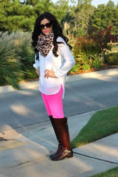fall fashion, hot pink pants, white tunic, leopard print scarf