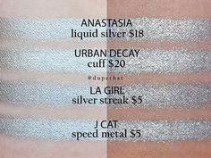 Anastasia Liquid Silver & Urban Decay Cuff = LA Girl Silver Streak & J Cat Speed Metal Can Makeup, Makeup Set, Beauty Dupes, Beauty Hacks, Beauty Stuff, Beauty Products, Make Me Up, Eye Make Up, Make Up Dupes