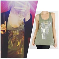 Faded Gold Elephant Tank in Olive ❤️ ❤️Super cute & stylish! Love the chilled out look! ✌️ Runs true to size. 65% Rayon 35% Polyester Available in sizes S M  ***PLEASE DO NOT PURCHASE THIS LISTING*** MESSAGE BELOW WITH YOUR SIZE AND I WILL MAKE A PERSONAL LISTING FOR YOU ASAP!! If you have any questions, please feel free to ask  #PoshOnLadies! Bohemian Sea Tops Tank Tops