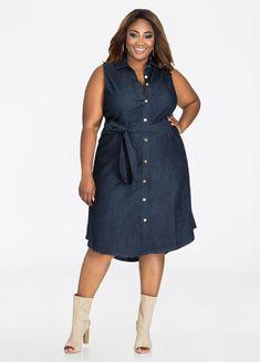 Plus Size Dresses - Sleeveless Denim Dress - Denim Dress with Hi Lo Hem. Plus Size Womens Clothing, Plus Size Fashion, Plus Size Dresses, Plus Size Outfits, Sleeveless Denim Dress, Denim Dresses, Apple Shape Fashion, Dress Skirt, Shirt Dress