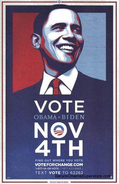 barack obama | RARE BARACK OBAMA VOTE NOVEMBER CAMPAIGN POSTER
