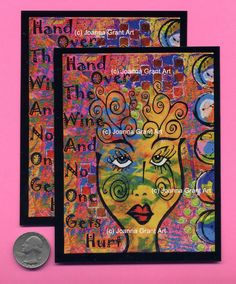 HAND OVER the WINE Mixed Media Art Magnet by JoannaGrantArt on Etsy