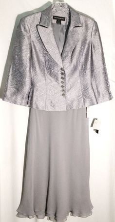 New JONES NEW YORK DRESS Silver Skirt Suit -Jacquard Print Jacket-Silk Skirt - 4 #JonesNewYorkDress #SkirtSuit #jones #suit #skirt #jacket #jacquard #textured #gray #new #tags #4