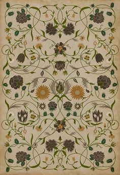 Spicher and Company Vintage Vinyl Floor Cloths Floral Rugs | Rugs Direct