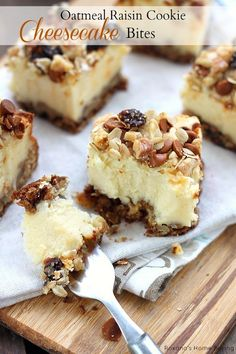 oatmeal raisin cookie cheesecake bites.