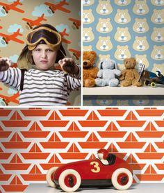 behang kinderkamer met retro look #lavmi #behang #kidsroom