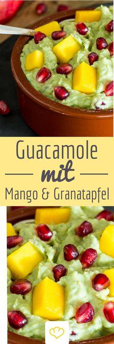 Pimp your Guacamole! Mach deine Avocado-Creme mit spritzigen Granatapfelkernen und süßer Mango zu etwas ganz besonderem!