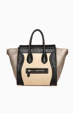 Large Structured Handbag in these Black/Beige