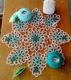 Pretty Petal Doily from Traditional Tatting Patterns by Rita Weiss. For the new year I've decided to tat at least one item from ev...