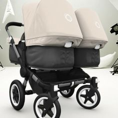 Bugaboo Donkey Twin with Black Base and Off White Fabric.. I seriously want this so bad.
