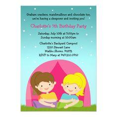 Camping Birthday Party Invitations Girls Camping Birthday Party Invitation