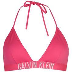 Calvin Klein Triangle Bikini Top ($49) ❤ liked on Polyvore featuring swimwear, bikinis, bikini tops, triangle swimwear, strappy swimsuit top, strappy bikini top, triangle bikinis and strap bikini