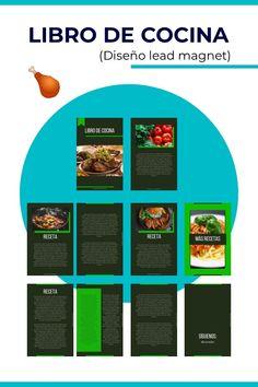 Plantilla de ebook para cocina, diseño de lead magnet para sitio web de restaurante. Chart, Cookbook Design, Book Design, Template, Restaurants, Plants, Recipes