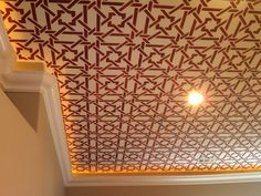 Camel Bone Weave Stencil on ceiling by Tracy Wade | Royal Design Studio
