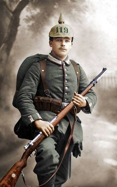 A colorized photo of a young soldier of the 116th Grenadier Regiment of the army of the German state of Württemberg. Allied intelligence rated the regiment as first class.