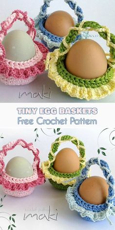 Tiny Easter Egg Baskets - Free Crochet Pattern. These baskets are a perfect decor for your Easter table, or egg carriers for those tiny bunnies in your life. Easy and quick to make, you can get ahead of the Easter rush and make as many as you want in short order. They will also make a great addition to your seasonal amigurumi collection.