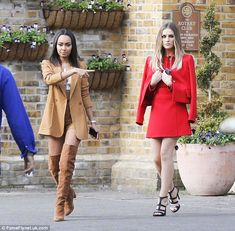 Style queens: Little Mix's Leigh-Anne Pinnock (left) and Perrie Edwards went all-out in th...
