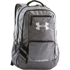 Under Armour Storm Hustle II Backpack: UA storm technology delivers an element-battling, highly water-resistant finish. Soft lined laptop sleeve-holds up to 15 Mochila Under Armour, Under Armour Backpack, Nike Under Armour, Rucksack Bag, Backpack Bags, Fashion Backpack, Softball Backpacks, School Backpacks, Sports Backpacks