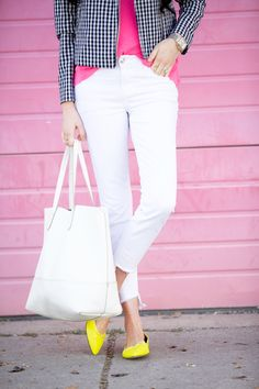 Gingham, Gingham, Gingham… (Pink Peonies by Rach Parcell) Stylish Work Outfits, Cool Outfits, Teaching Outfits, Gingham Shirt, Jeans For Sale, Spring Trends, Colourful Outfits, Pink Peonies, Casual Looks