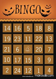 Pumpkin Halloween Bingo Card